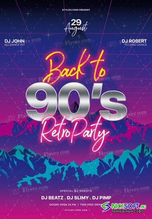 Back To 90s Retro Party V1 2018 PSD Flyer Template