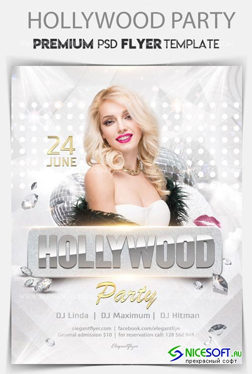 Hollywood Party V1 2018 Flyer PSD Template