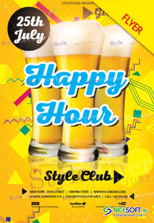 Happy Hour Party V9 2018 Flyer PSD