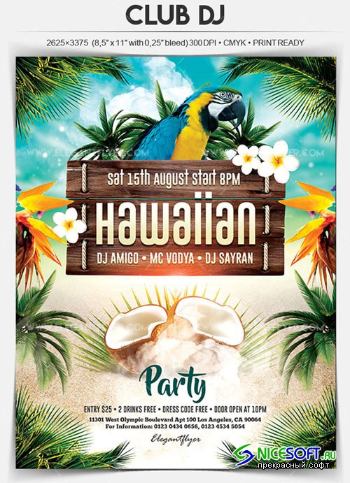 Hawaiian Party V1 2018 Flyer PSD Template