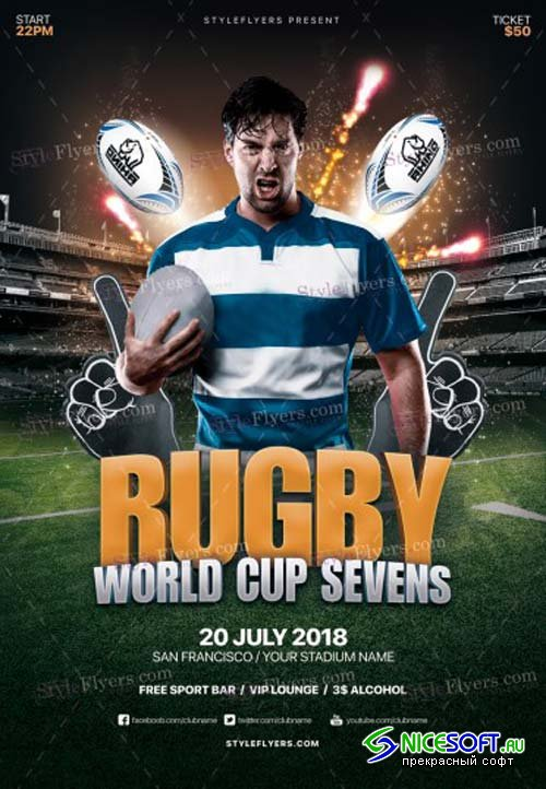 Rugby World Cup Sevens V1 2018  PSD Flyer Template