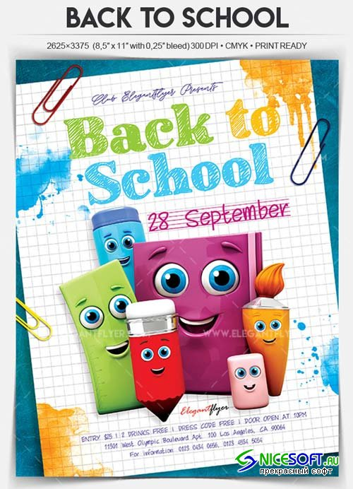 Back to School V3 2018 Flyer PSD Template