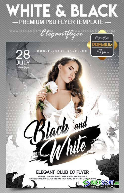 White and Black V10 2018 Flyer PSD Template