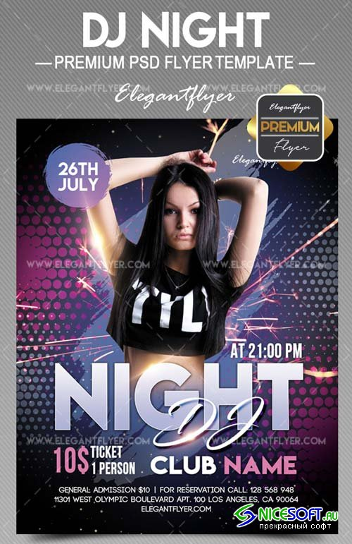 DJ Night V25 2018 Flyer PSD Template