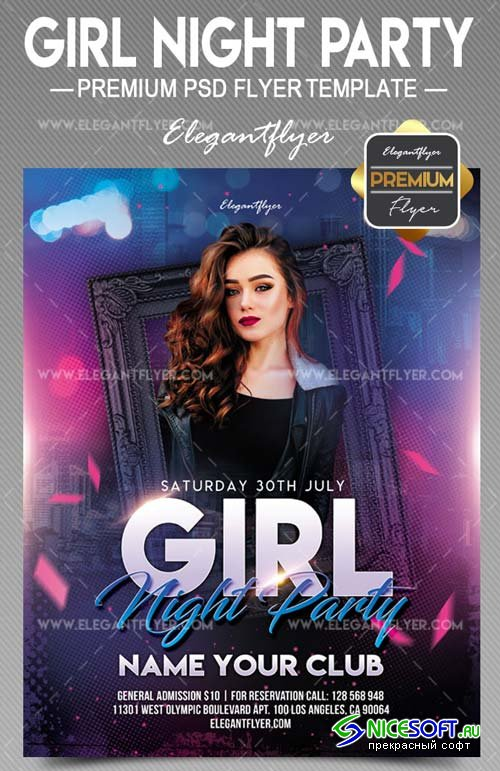 Girl Night Party V17 2018 Flyer PSD Template