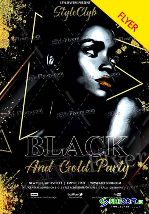 Black And Gold Party V5 2018 Flyer PSD Template