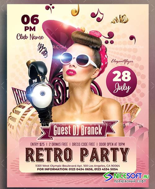Retro Party V17 2018 Flyer PSD Template
