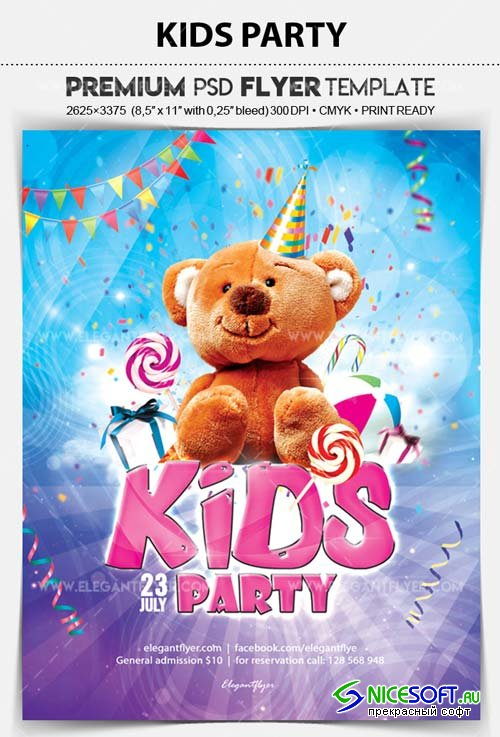 Kids Party V15 2018 Flyer PSD Template