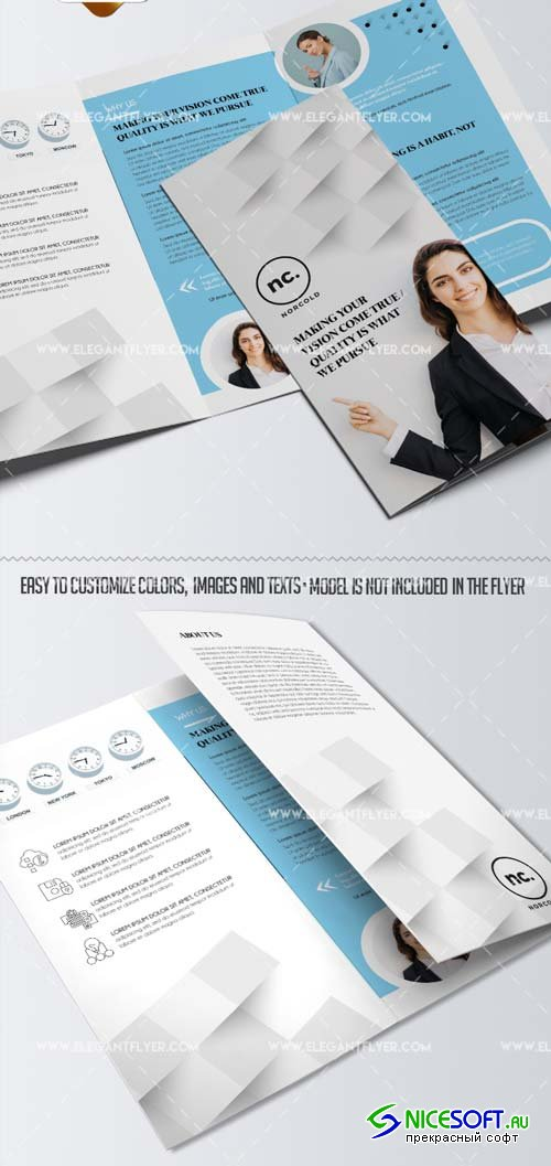 Business V40 2018 Tri-Fold Brochure PSD Template