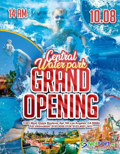 Water park Grand Opening V1 2018 Flyer PSD Template