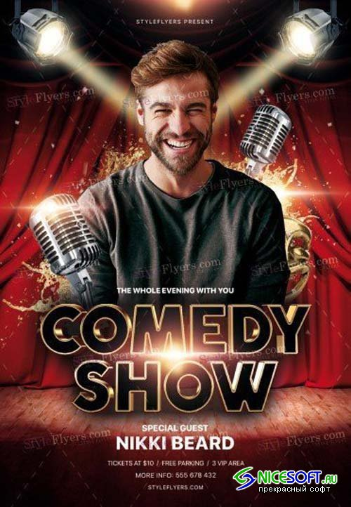 Comedy Show V9 2018 PSD Flyer Template