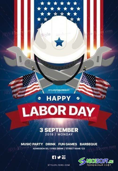 Labour Day V10 2018 PSD Flyer Template