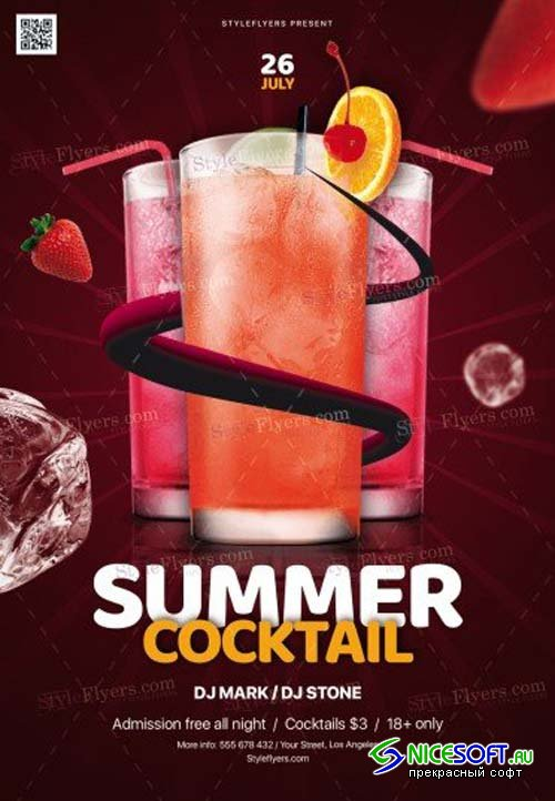 Summer Cocktail V17 2018 PSD Flyer Template