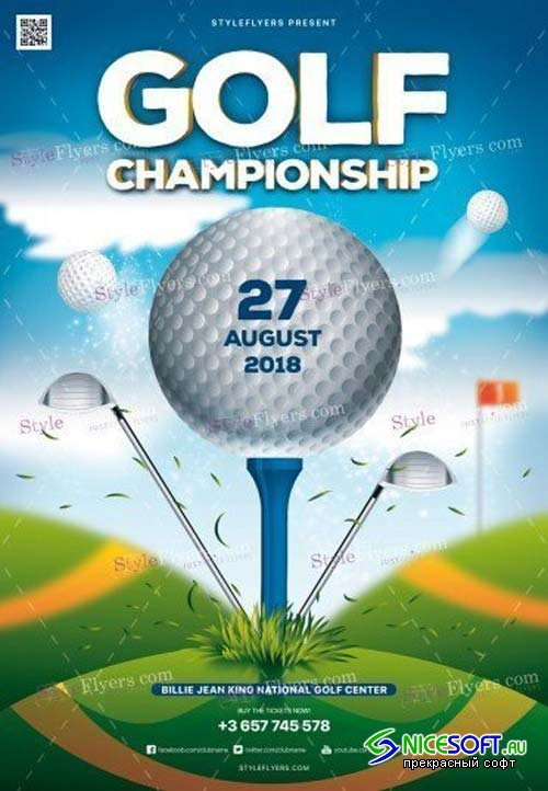 Golf Championship V11 2018 PSD Flyer Template