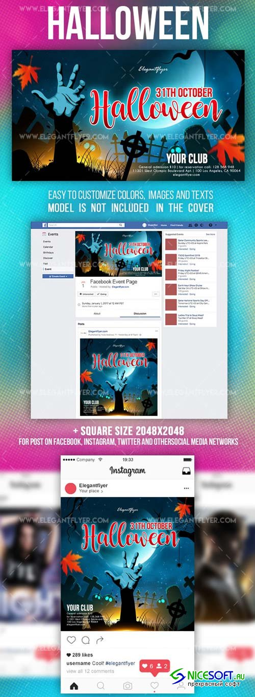 Halloween V3 2018 Facebook Event + Instagram template