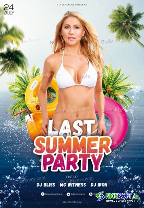 Last Summer Party V17 2018 PSD Flyer Template