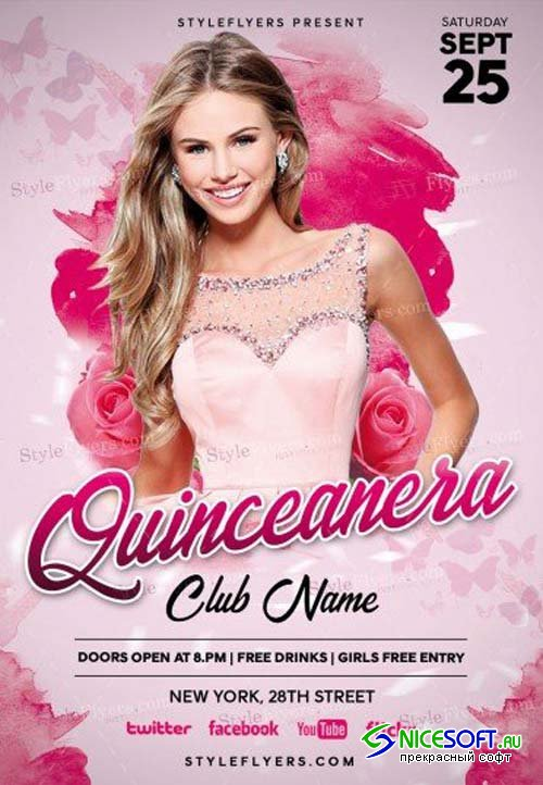 Quinceanera V1 PSD Flyer Template