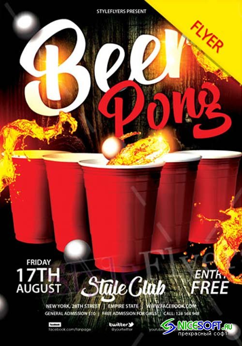 Beer Pong V1 2018 Flyer PSD Template