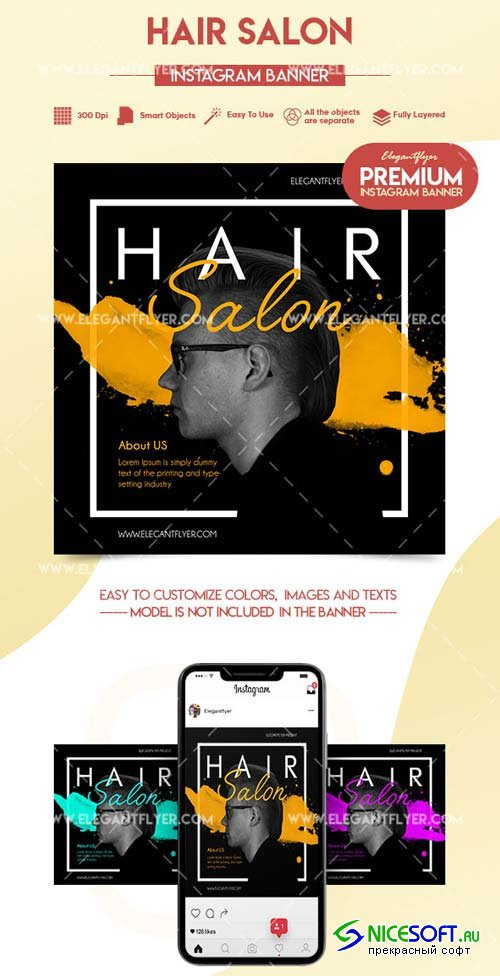Hair Salon V2 2018 Premium Instagram Banner