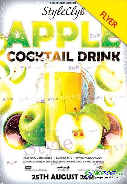 Apple Cocktail Drink V1 2018 Flyer PSD Templat