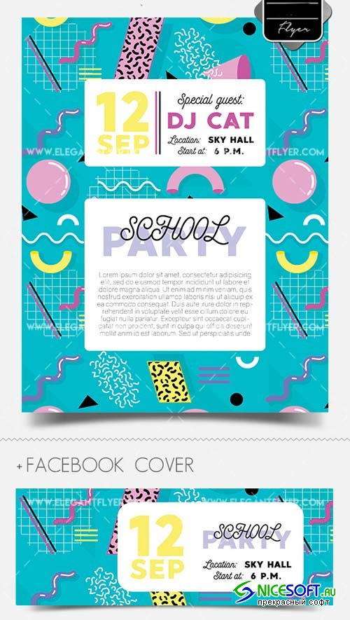 School Party V43 2018 Flyer PSD Template + Facebook Cover