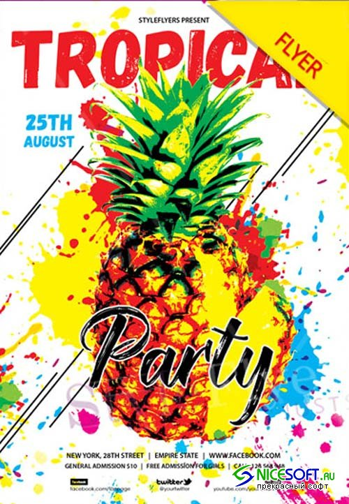 Tropical Party V11 2018 Flyer PSD Template