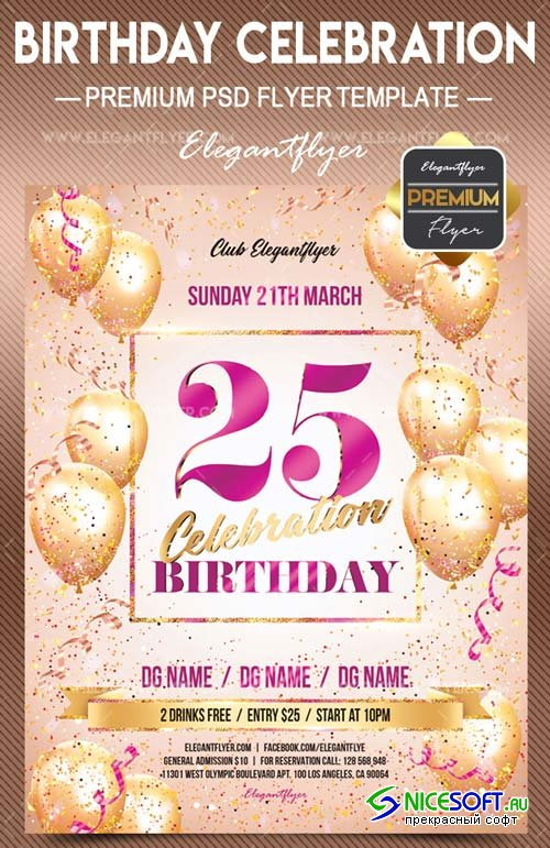 Birthday Celebration V29 2018 Flyer PSD Template + Facebook Cover