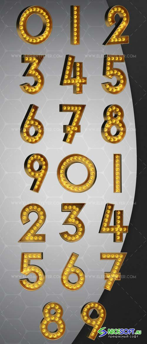 Light Bulb Numbers V1 2018 3d Render Templates