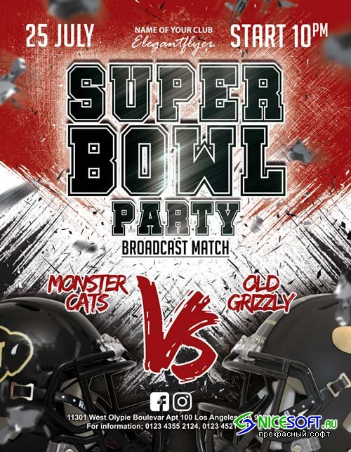 Super Bowl Party V1 2018 Flyer PSD Template