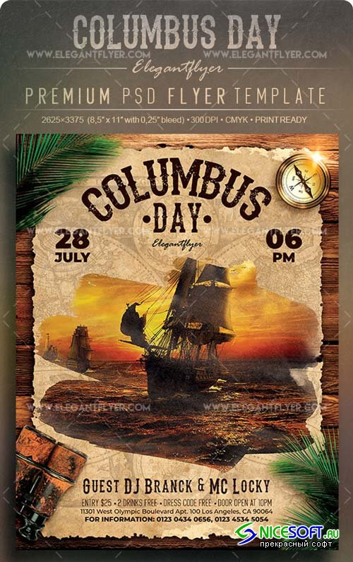 Columbus Day V12 2018 Flyer PSD Template