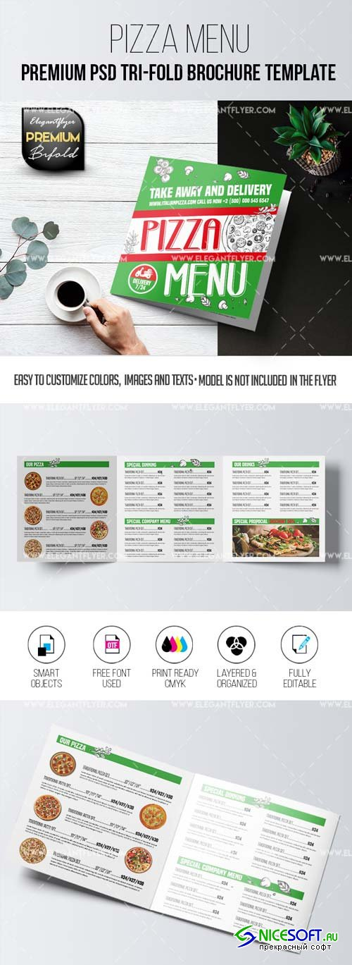 Pizza Menu V15 2018 Tri-Fold Brochure PSD Template