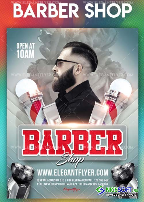 Barber shop V30 2018 Flyer PSD Template