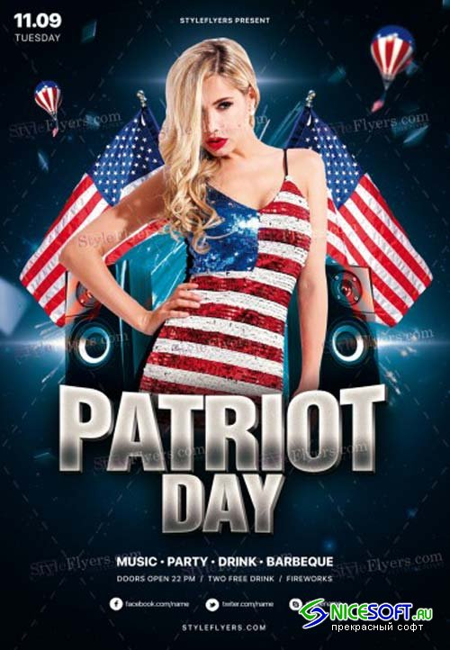 Patriot Day V22 2018 PSD Flyer Template