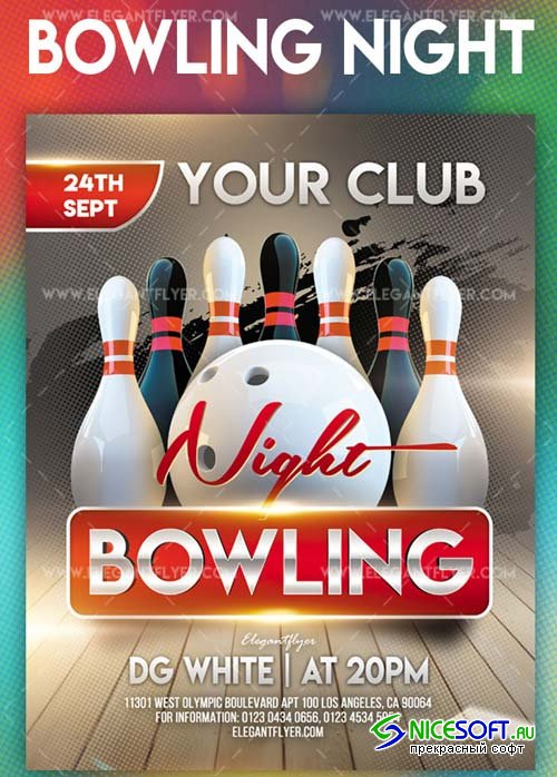 Bowling Night V7 2018 Flyer PSD Template