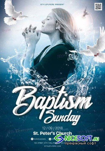 Baptism Sunday V1 2018 PSD Flyer Template