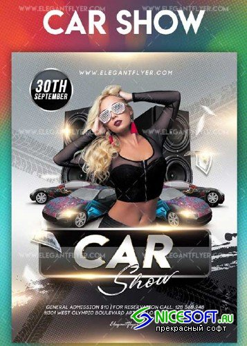Car show V9 2018 Flyer PSD Template