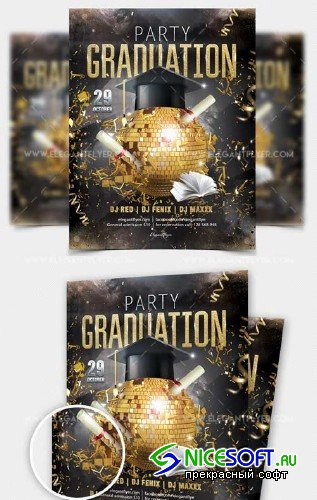 Graduation Party V12 2018 Flyer PSD Template