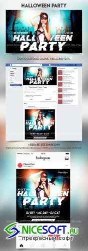 Halloween Party V35 2018 Facebook Event + Instagram template