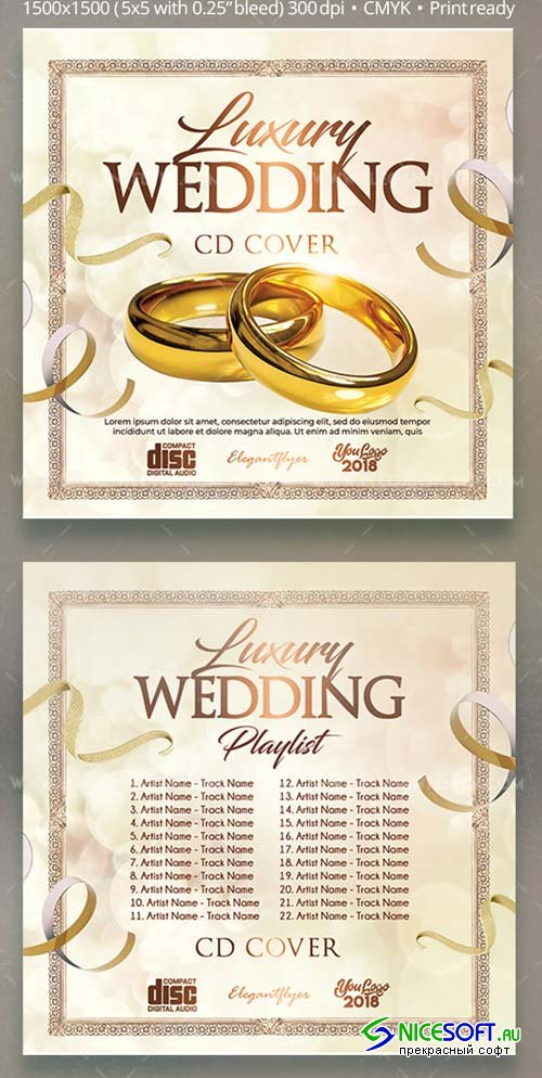 Luxury Wedding V5 2018 CD Mixtape Cover PSD