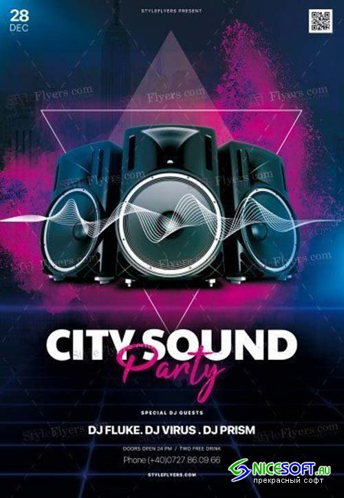 City Sound Party V5 2018 PSD Flyer Template