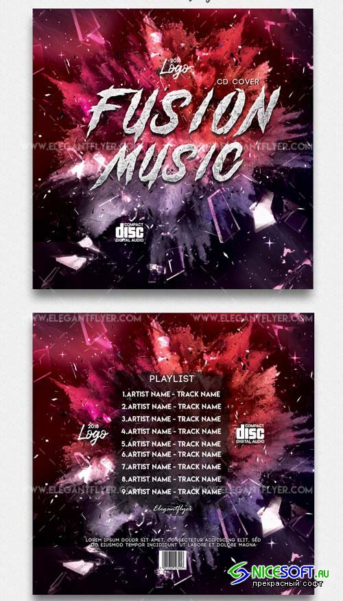 Fusion V11 2018 CD Cover Template in PSD