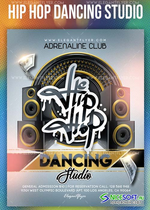 Hip Hop Dancing Studio V14 2018 Flyer PSD Template