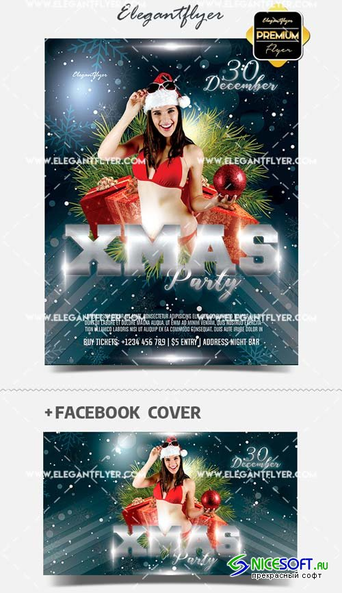 Ladies Christmas V1 2018 Night Flyer in PSD