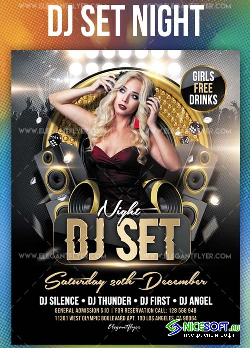 DJ Set Night V11 2018 Flyer PSD Template