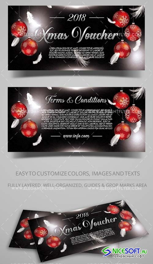 Xmas Gift Voucher V34 2018 in PSD