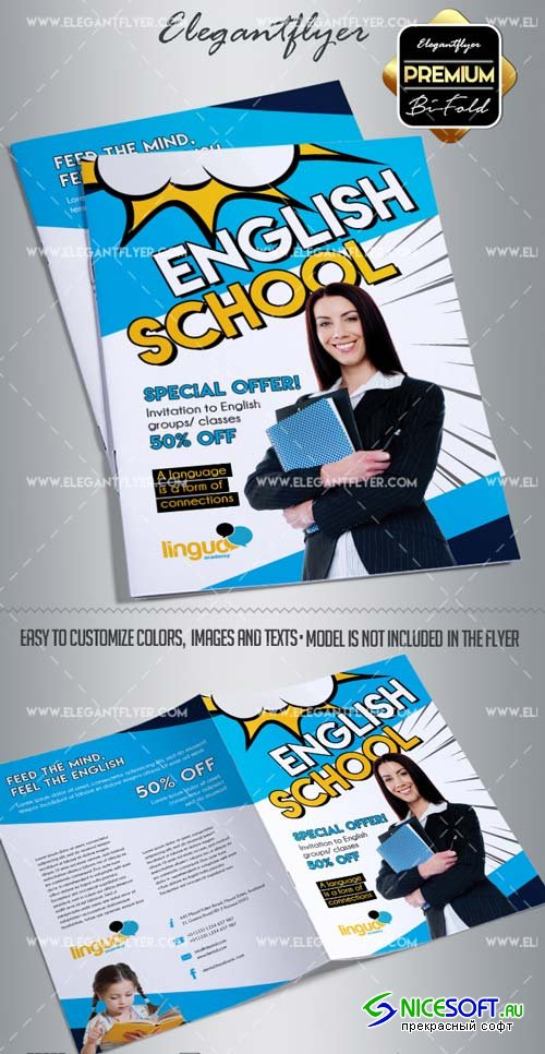 School of English V2 2018 PSD Bi-Fold Brochure