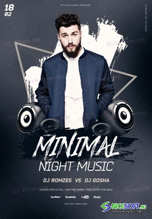 Minimal Night Music V20 2018 PSD Flyer Template