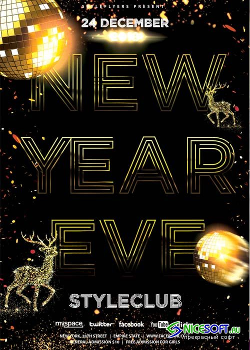 New Year Eve Flyer V65 2018 PSD Flyer Template