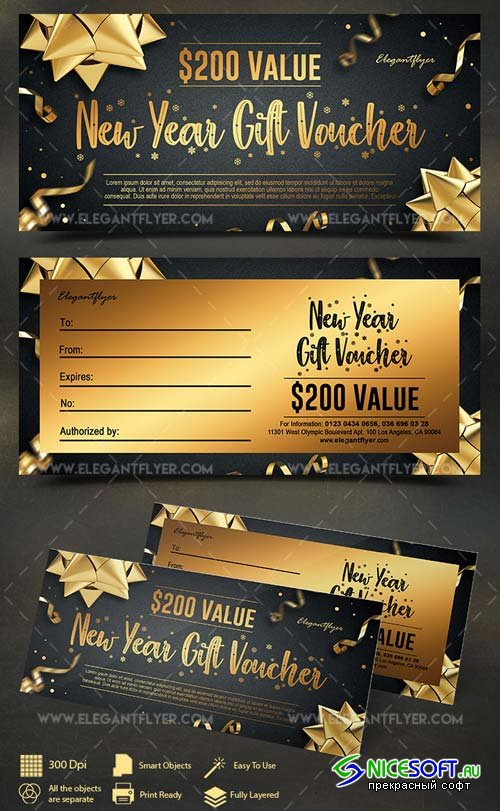 New Year V63 2018 Gift Voucher PSD Template