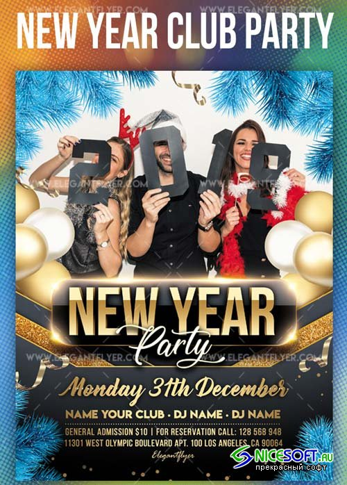 New Year Party V61 2018 Flyer PSD Template